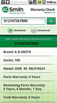 Android App Warranty Check Gt A O Smith Water Heaters