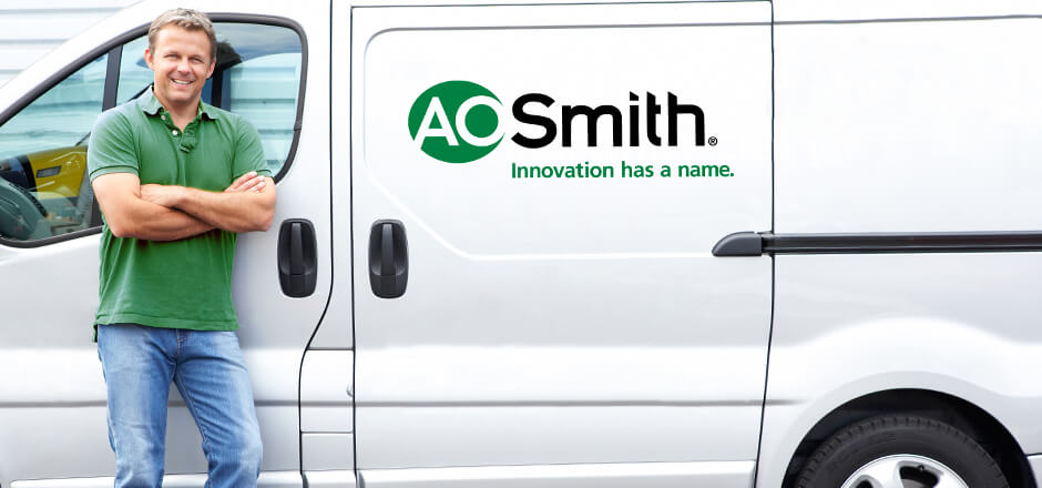 Man standing in front of AO Smith van