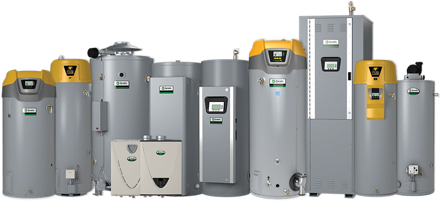 Various water heaters in the product range