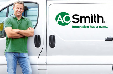 Man with A. O. Smith van
